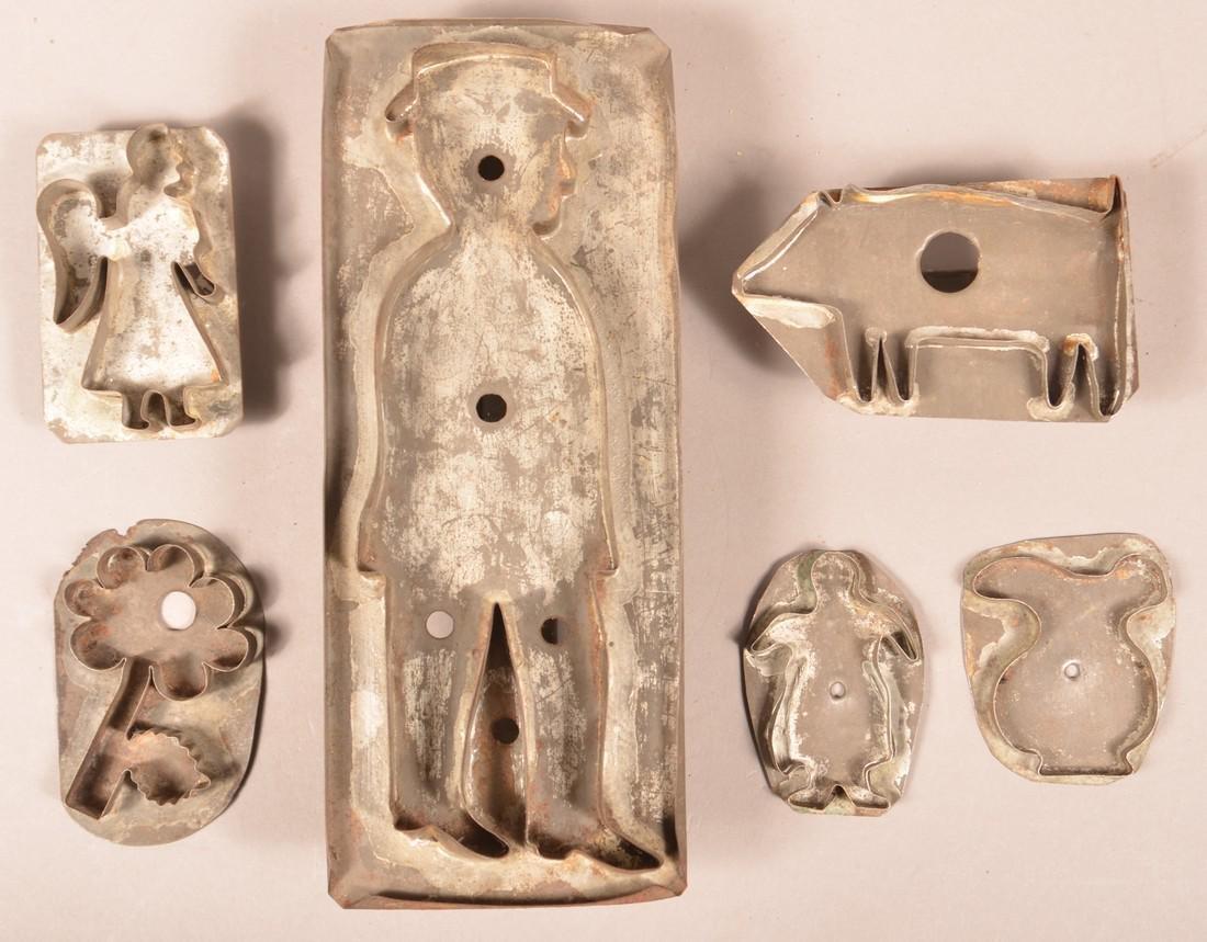 Six Antique Tin Figural Cookie Cutters.