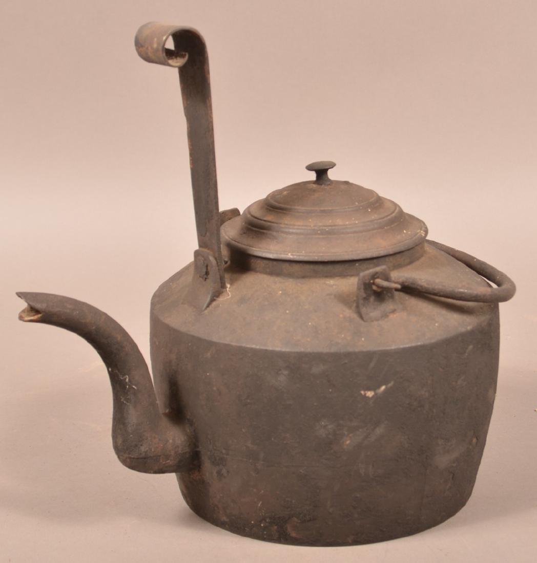 19th Century Cast Iron Kettle with Tiller.