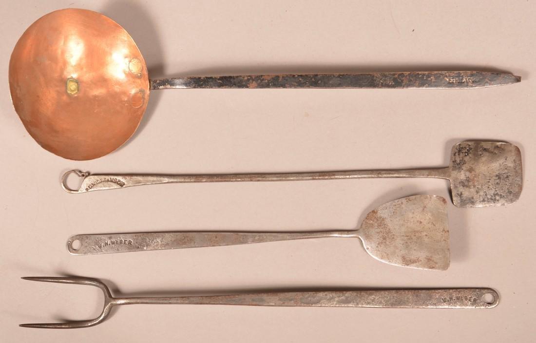 Four Antique Signed Wrought Iron Utensils.