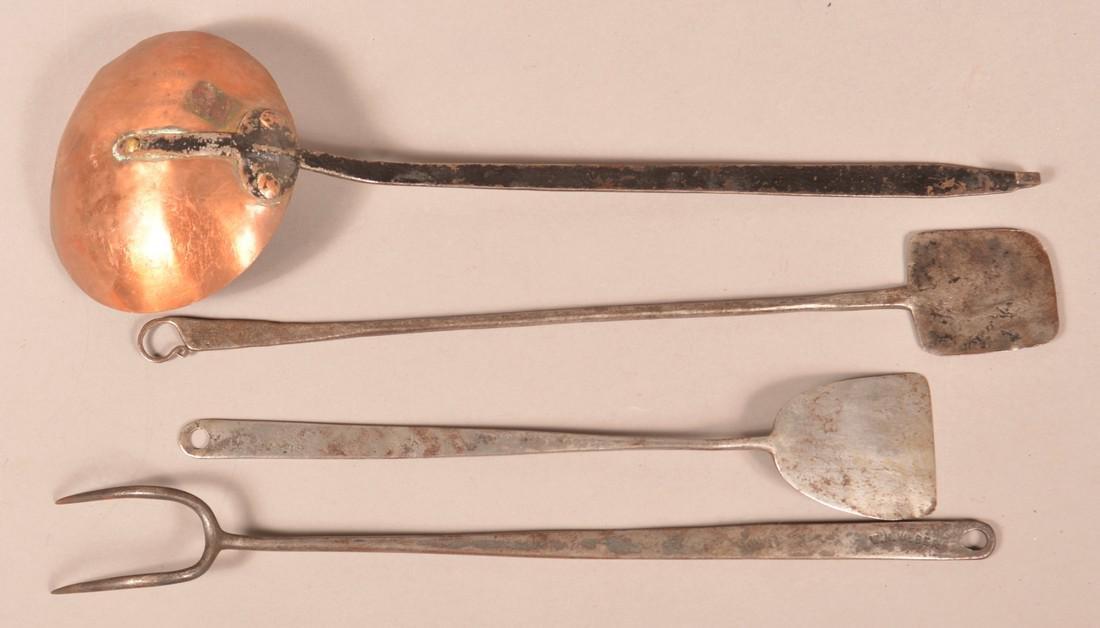 Four Antique Signed Wrought Iron Utensils. - 2