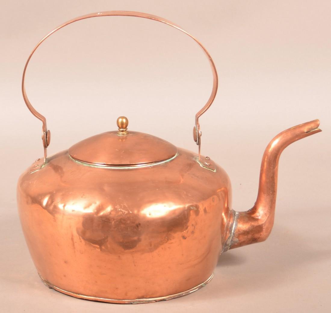 """Copper Tea Kettle Stamped """"A. Keeney, Carlisle""""."""