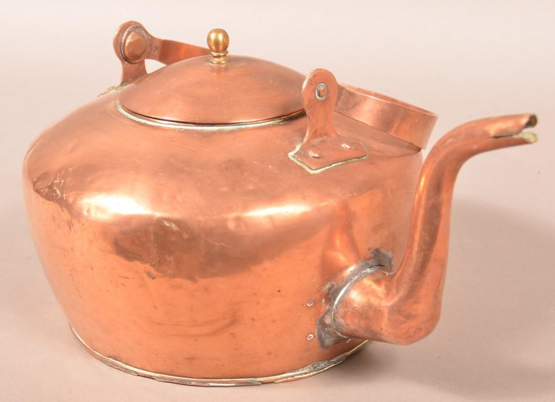 """Copper Tea Kettle Stamped """"A. Keeney, Carlisle"""". - 3"""