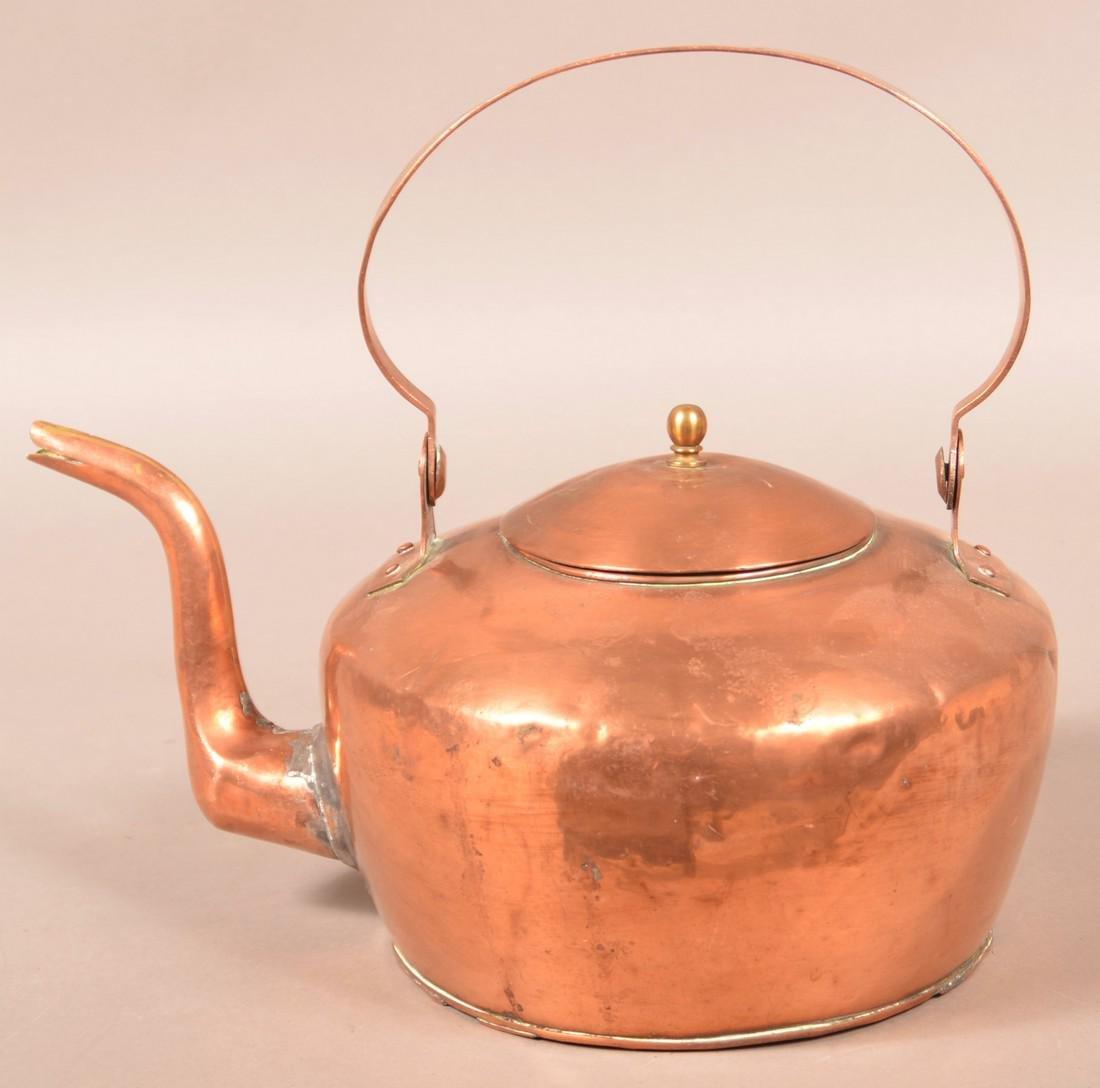 """Copper Tea Kettle Stamped """"A. Keeney, Carlisle"""". - 4"""