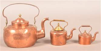 Three Small/Miniature Copper Tea Kettles.