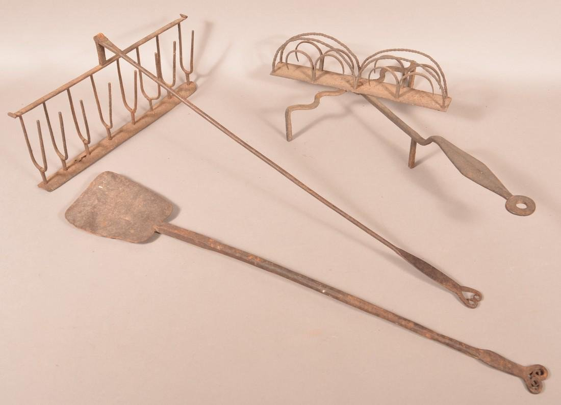 Three Pieces of Antique Wrought Iron.