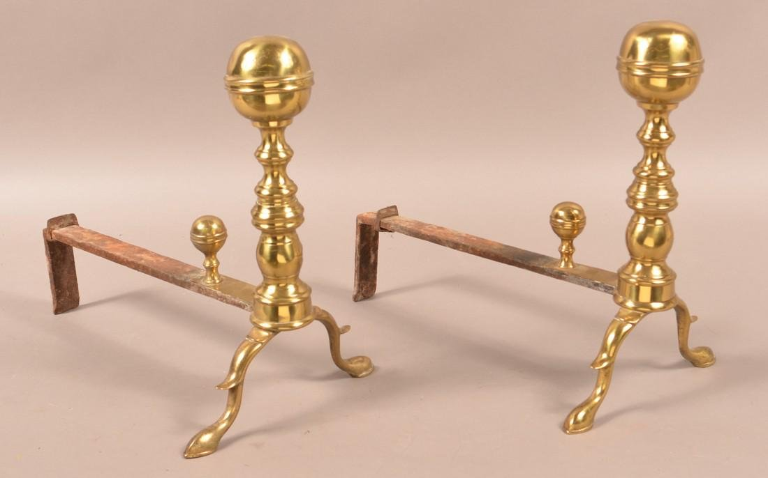 Pair of 19th Century Brass and Iron Andirons.