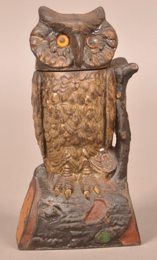 J & E Stevens Cast Iron Owl Mechanical Bank.