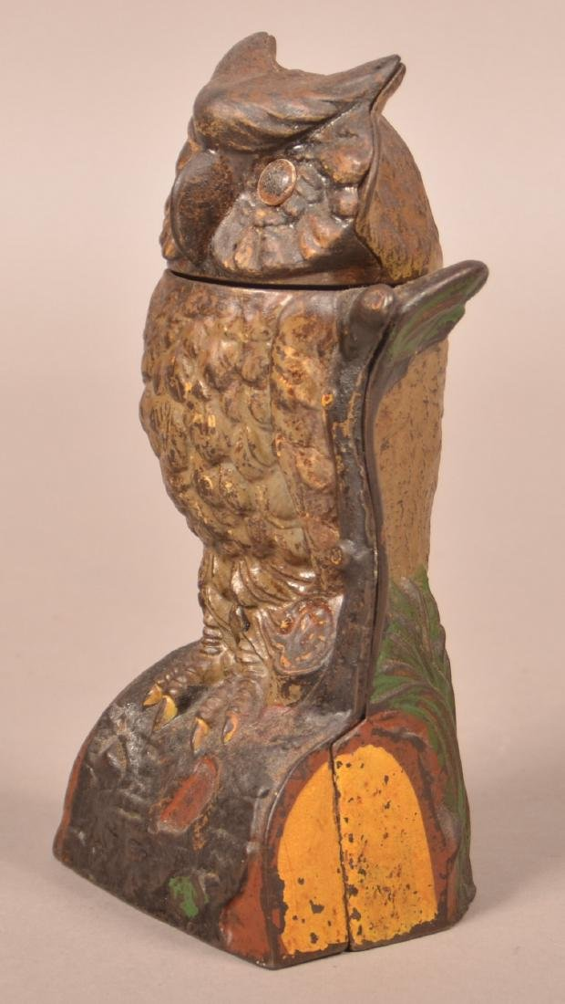 J & E Stevens Cast Iron Owl Mechanical Bank. - 2