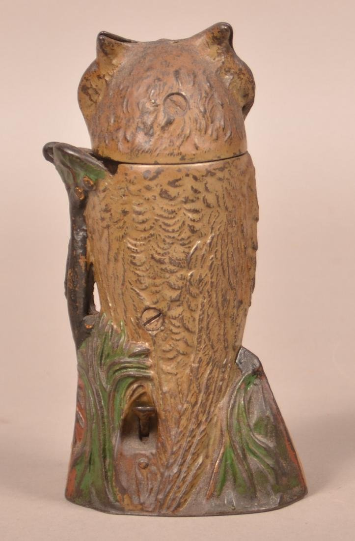 J & E Stevens Cast Iron Owl Mechanical Bank. - 3