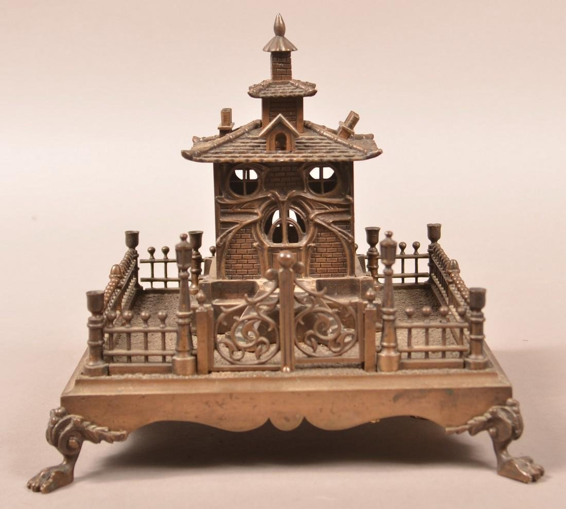Bronze Art Nouveau Musical Cottage Still Bank. - 2