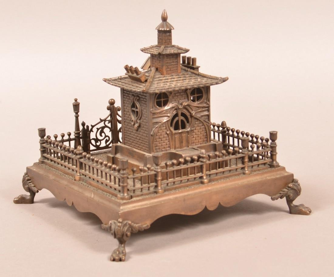 Bronze Art Nouveau Musical Cottage Still Bank. - 3