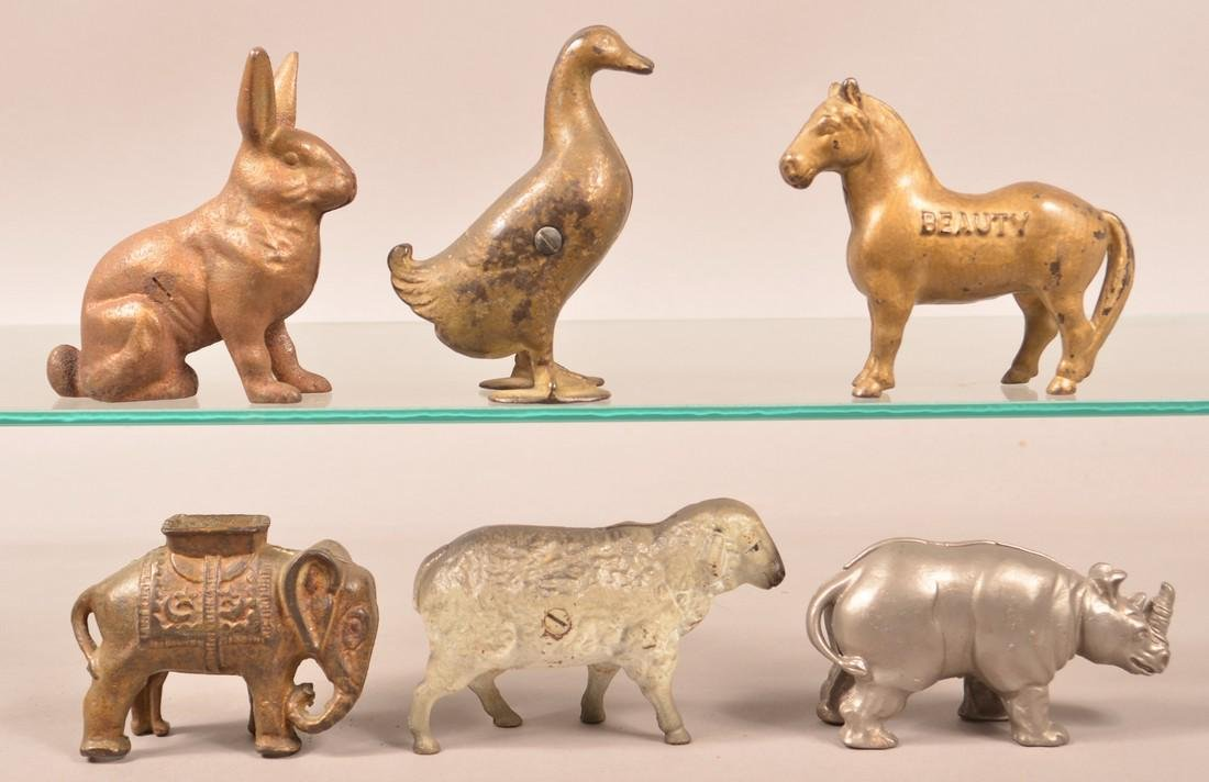 Six Cast Iron Animal Figure Still Banks.