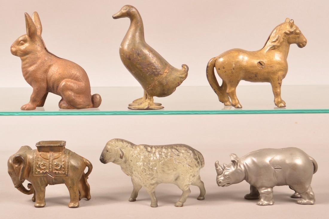 Six Cast Iron Animal Figure Still Banks. - 2