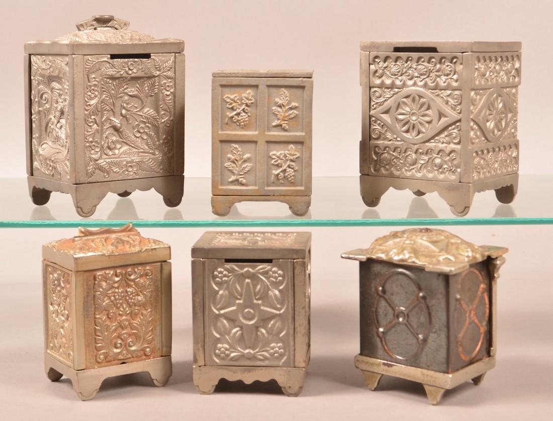 Six Antique/Vintage Cast Iron Safe Still Banks. - 2