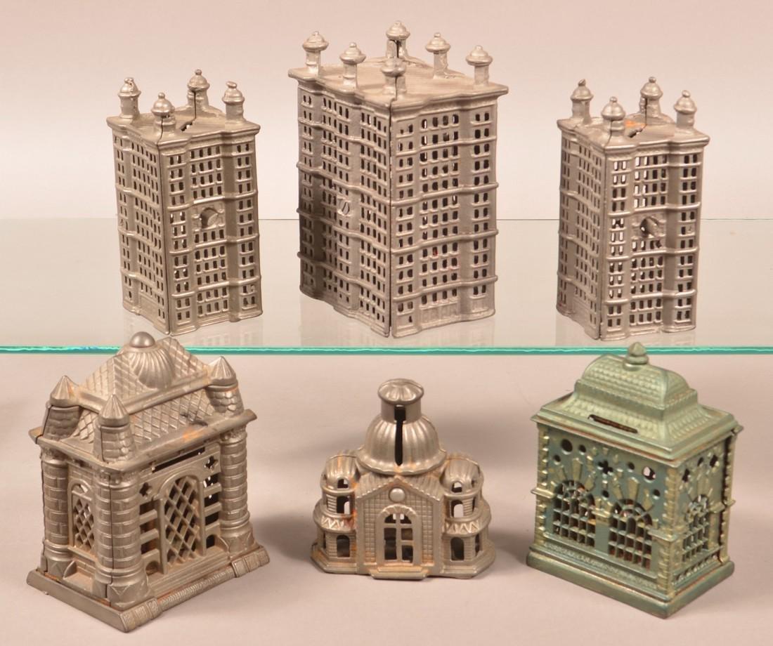 Six Various Cast Metal Building Still Banks. - 2