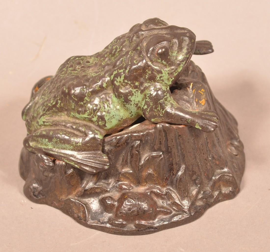 Frog on Stump Cast Iron  Mechanical Bank.
