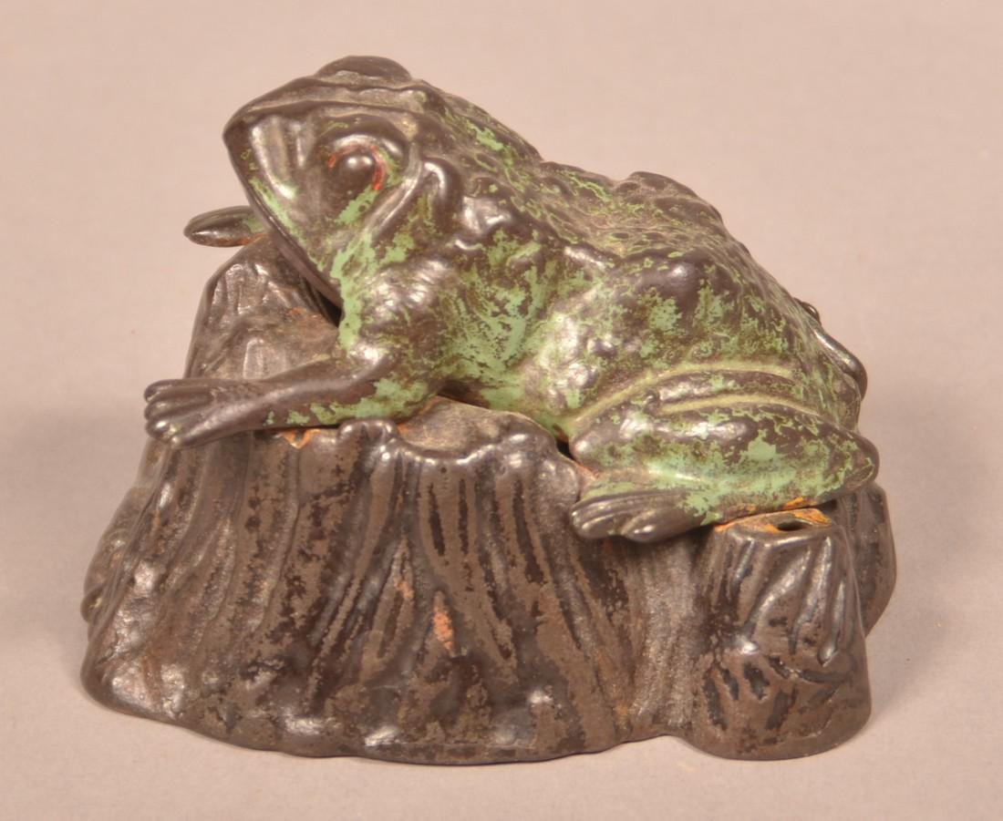 Frog on Stump Cast Iron  Mechanical Bank. - 2