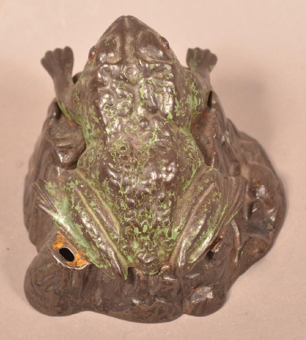 Frog on Stump Cast Iron  Mechanical Bank. - 4