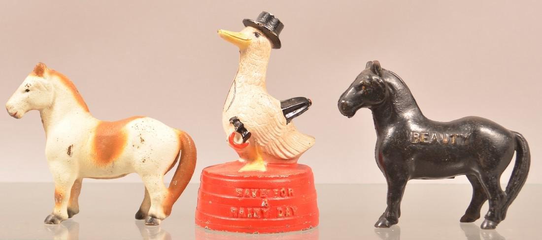 Three Cast Metal Animal Figural Still Banks.
