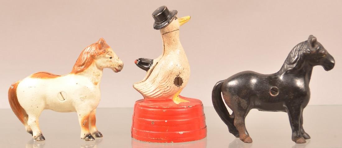 Three Cast Metal Animal Figural Still Banks. - 2