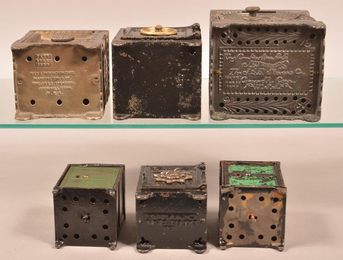 Six Various Cast Iron Safe Still Banks. - 3