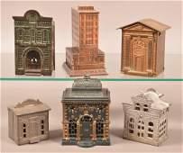 Six Various Cast Metal Building Still Banks