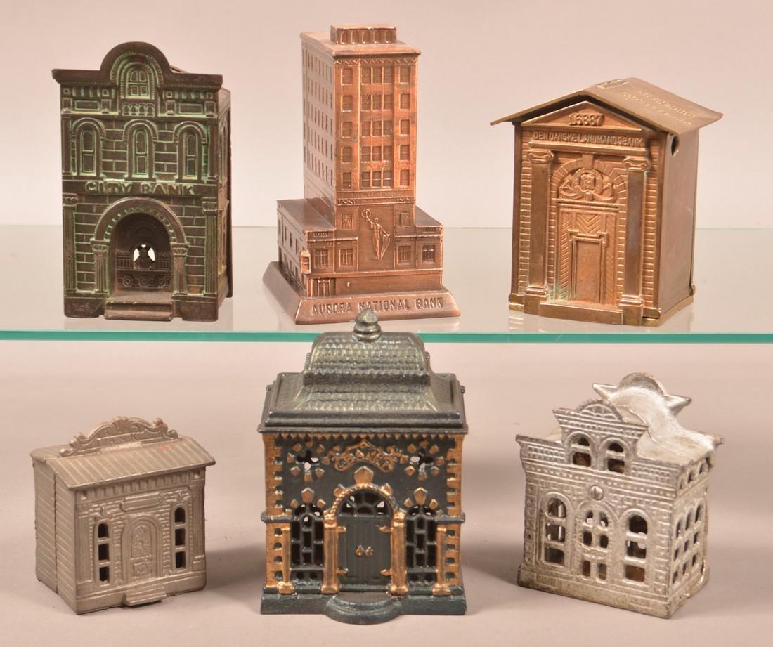 Six Various Cast Metal Building Still Banks.