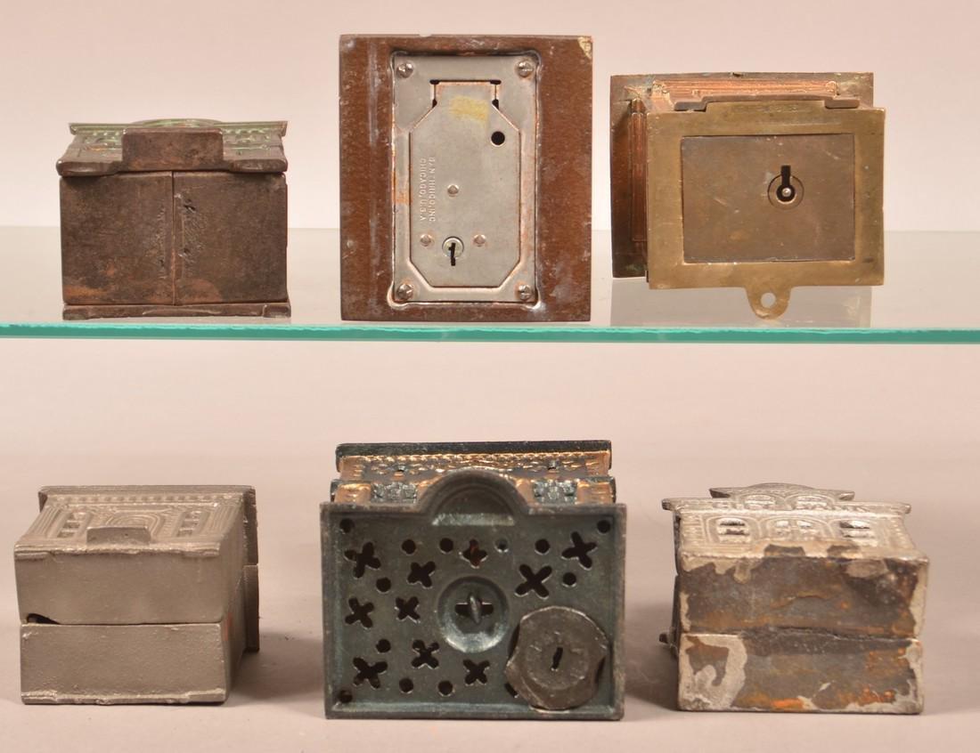 Six Various Cast Metal Building Still Banks. - 3