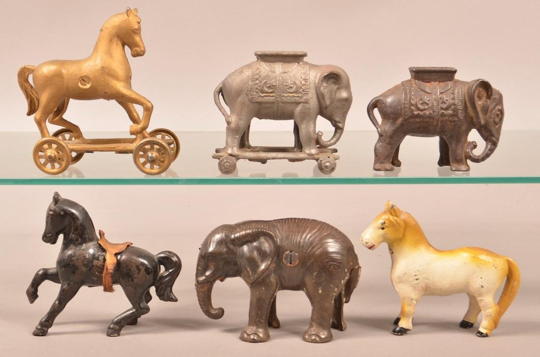 Six Various Cast Iron Animal Figure Still Banks.