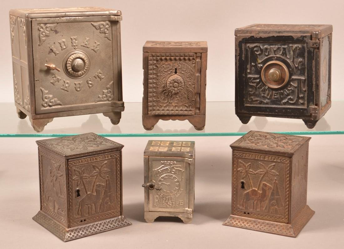 Six Various Cast Iron Safe Still Banks.