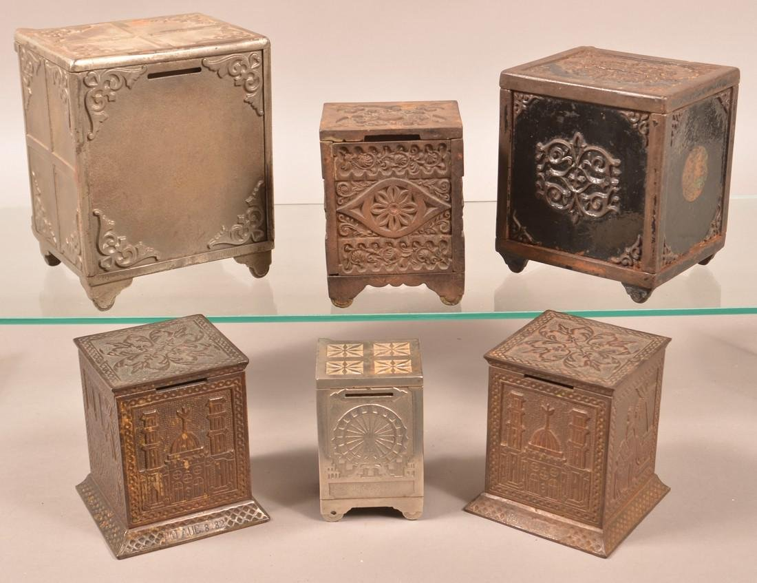 Six Various Cast Iron Safe Still Banks. - 2