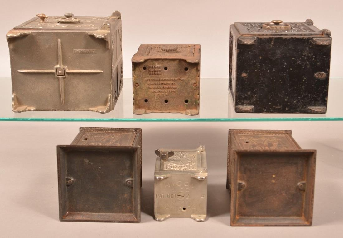 Six Various Cast Iron Safe Still Banks. - 3