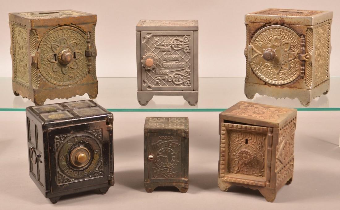 Six Various Cast Iron Safe Still Banks.