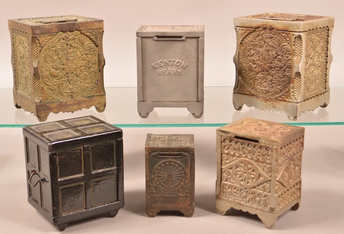 Six Various Cast Iron Safe Still Banks. - 2