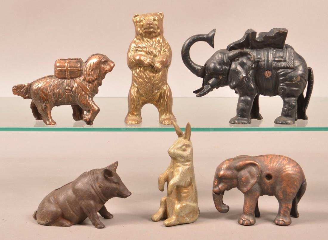 Six Various Cast Metal Animal Figure Still Banks.