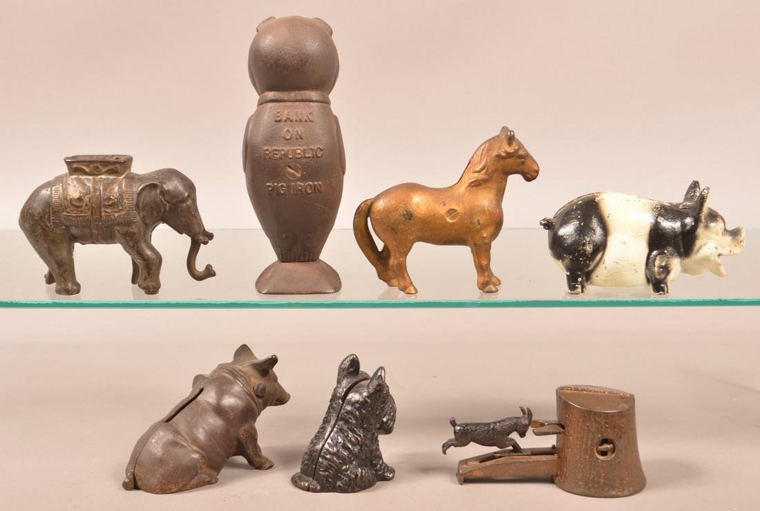Seven Various Cast Iron Animal Figure Still Banks. - 2