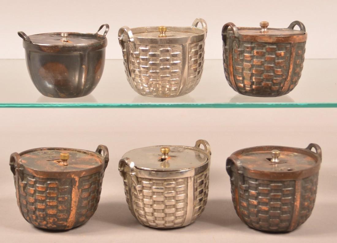 Six Various Vintage Cast Metal Basket Still Banks