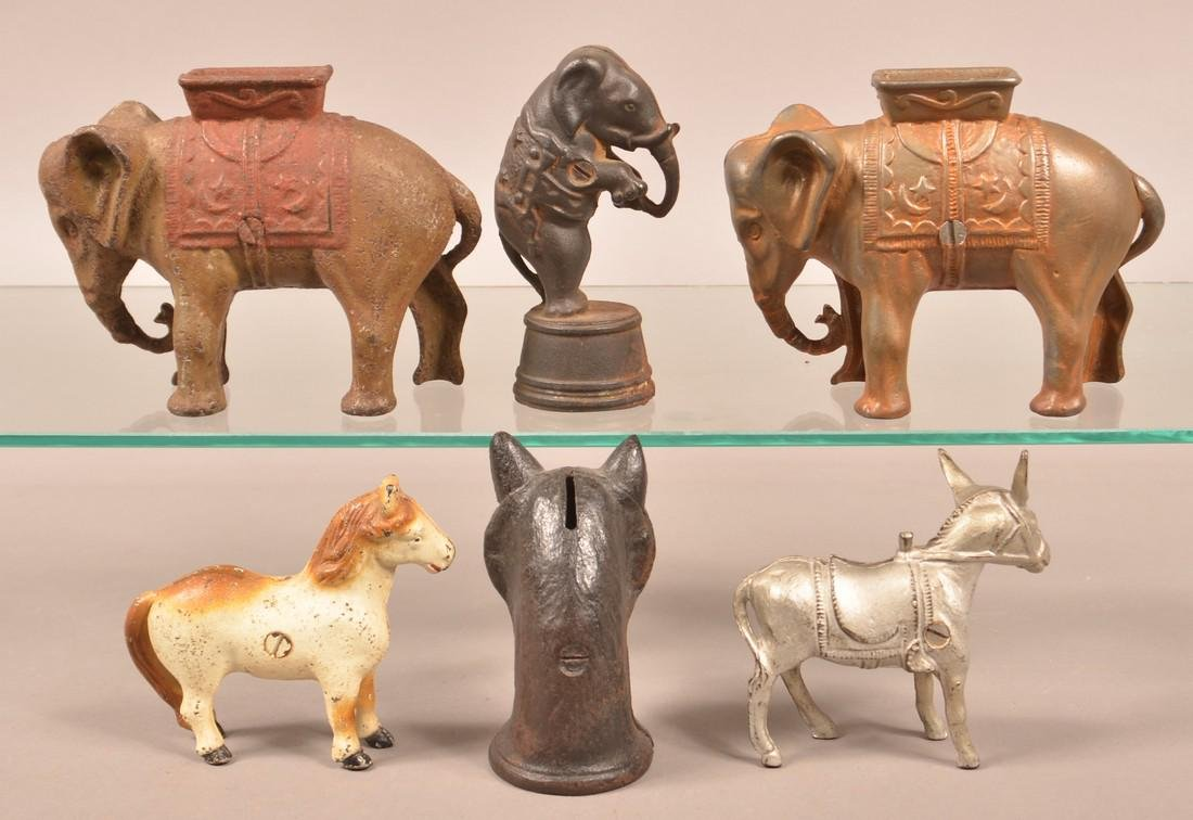 Six Various Cast Iron Animal Figure Still Banks. - 2