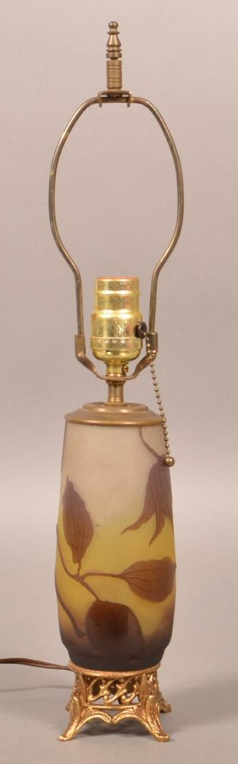 Galle' Cameo Art Glass Table Lamp. - 3