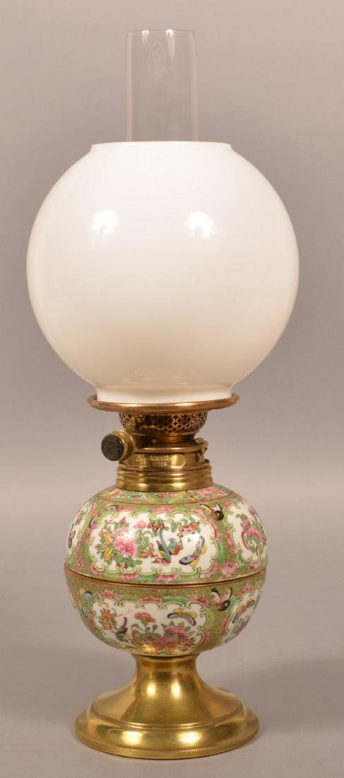 Antique Rose Medallion Oriental Porcelain Lamp.