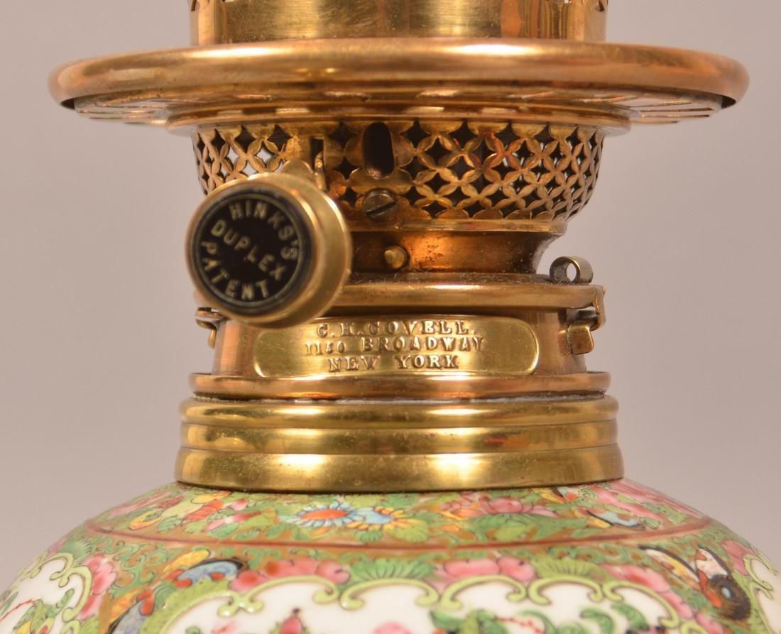 Antique Rose Medallion Oriental Porcelain Lamp. - 2