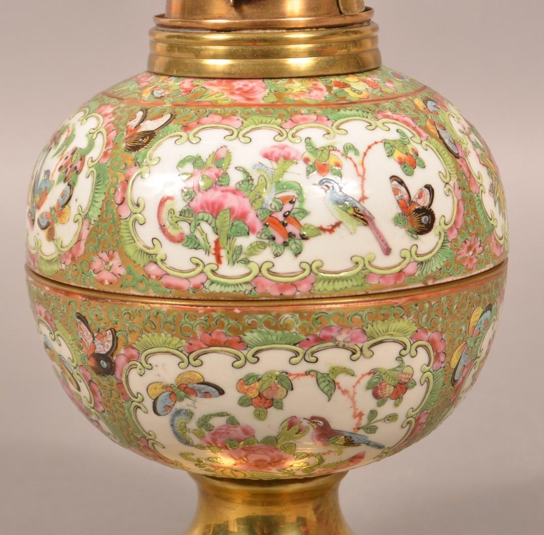 Antique Rose Medallion Oriental Porcelain Lamp. - 4