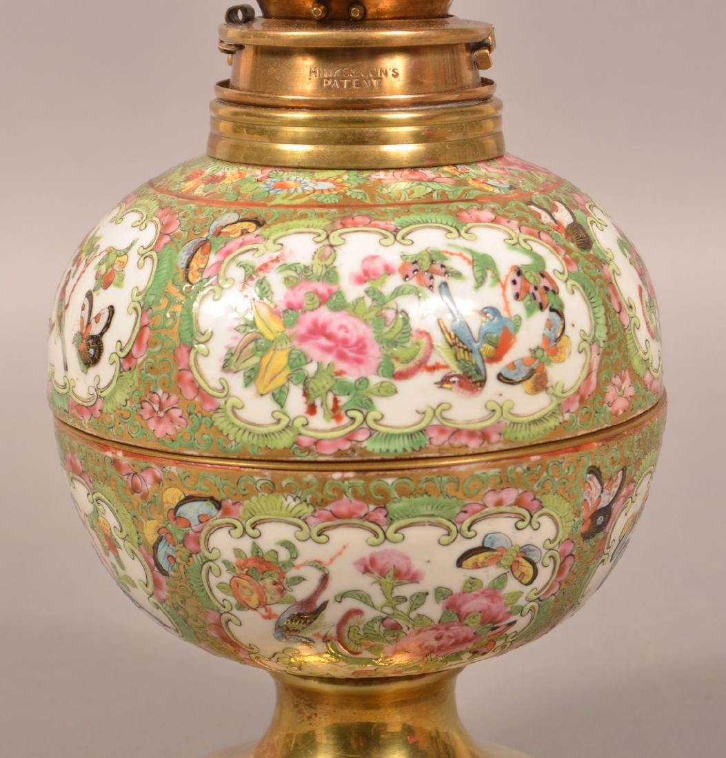 Antique Rose Medallion Oriental Porcelain Lamp. - 5