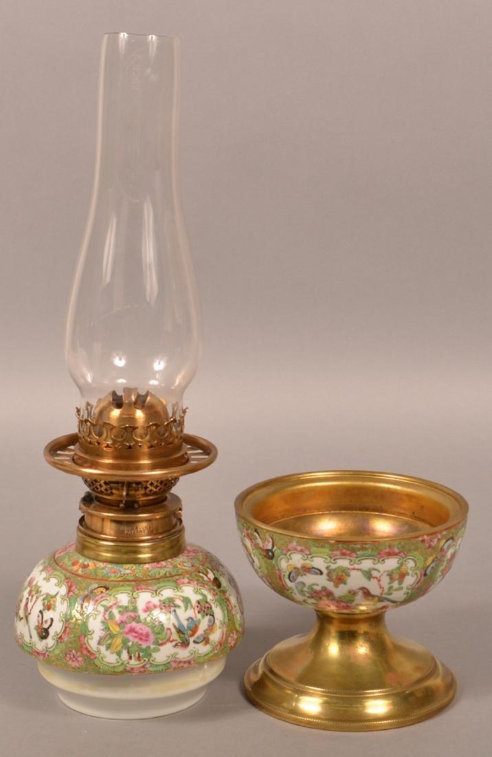 Antique Rose Medallion Oriental Porcelain Lamp. - 7