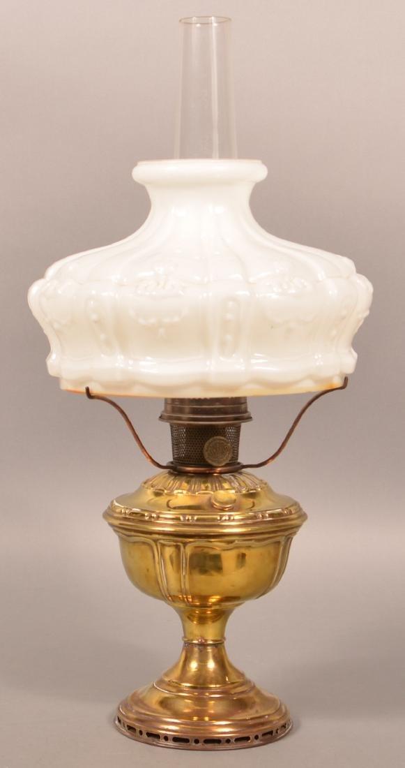 Brass Pedestal Fluid Lamp with Aladdin Burner.