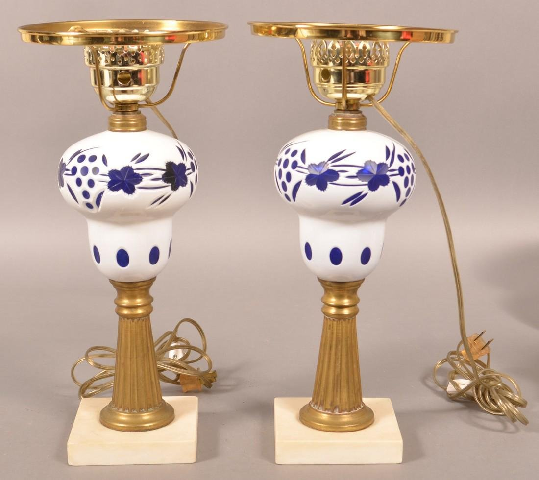Pair of White Cut to Cobalt Pedestal Fluid Lamps. - 2
