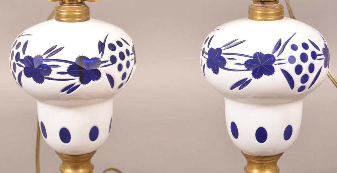 Pair of White Cut to Cobalt Pedestal Fluid Lamps. - 3