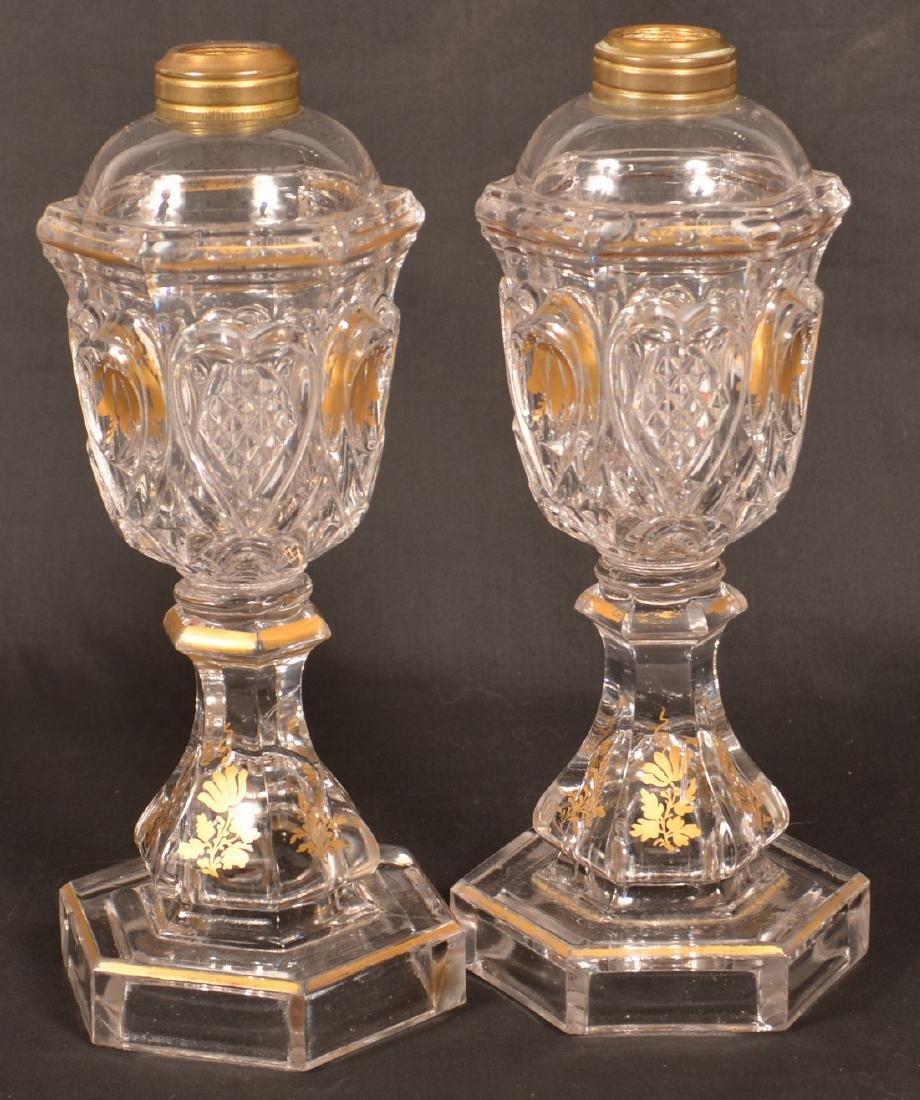 2 Colorless Sandwich Flint Glass Heart  Lamps. - 2