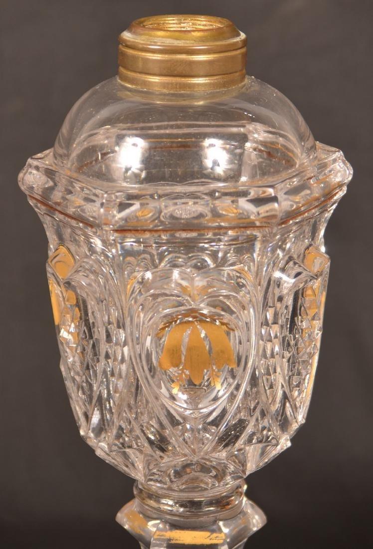 2 Colorless Sandwich Flint Glass Heart  Lamps. - 3