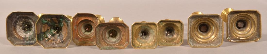 Four Pairs of 19th Century Brass Candlesticks. - 2